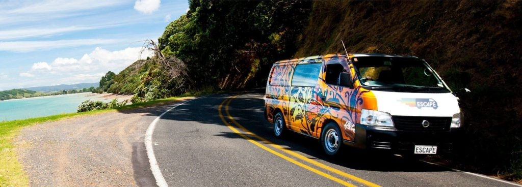 Escape Rentals campervan on the road